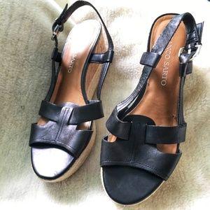 Franco Sarto Black Wedge Sling Back Sandals 7.5m
